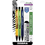 Zebra® Z-Grip™ Plus Mechanical Pencils, 0.7 mm, HB/#2 Lead, Assorted Barrel Colors, Pack Of 3 Pencils
