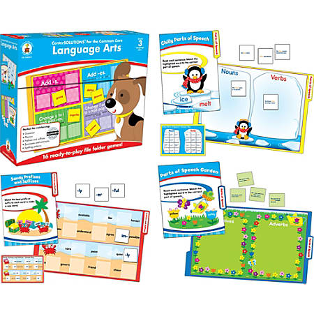 Carson-Dellosa CenterSOLUTIONS® File Folder Games — Language Arts, Grade 3, Box Of 16