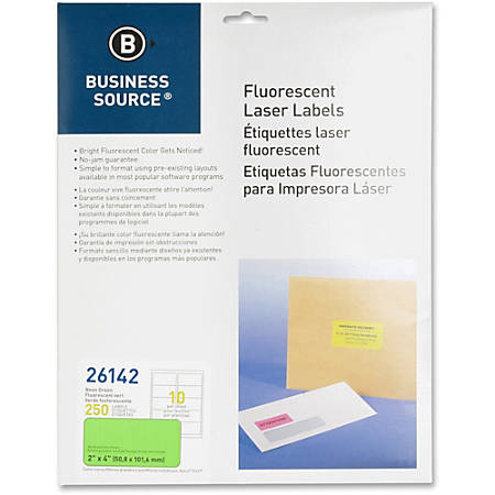 """Business Source 2"""" Fluorescent Color Laser Labels - Permanent Adhesive - 2"""" Width x 4"""" Length - Rectangle - Laser - Neon Green - 10 / Sheet - 250 / Pack"""