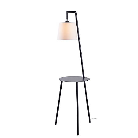 """Kenroy Home Obsidian Floor Lamp With Tray, 60-1/4""""H, White Shade/Black Base"""