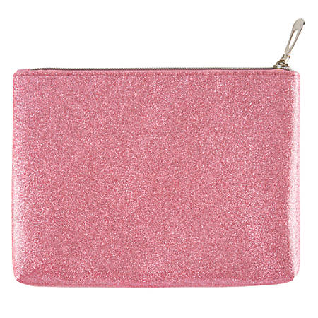 "Office Depot® Brand Polyester Glitter Travel Pouch, 8 3/4""H x 6 1/2""W x 1 1/4""D, Pink"
