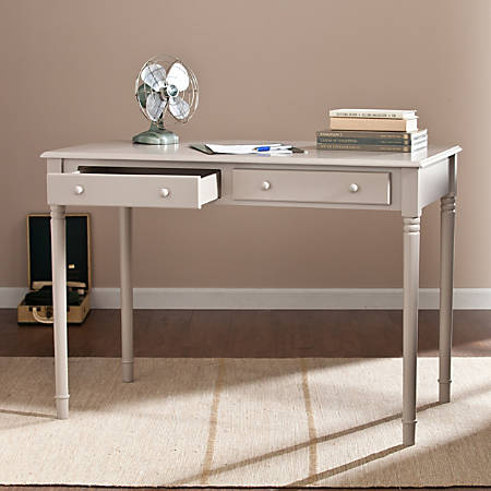 Southern Enterprises Janice 2-Drawer Wood Writing Desk, Gray