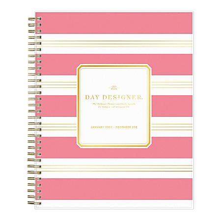 """Day Designer® Daily/Monthly Planner, 10"""" x 8"""", Refined Stripe Pink Frosted, January To December 2020, 116879"""