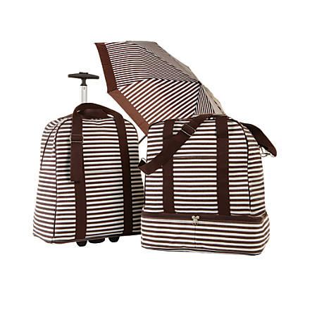 TJ Riley & Co. 3-Piece Canvas Travel Tote Set With Umbrella, Brown/White Stripe