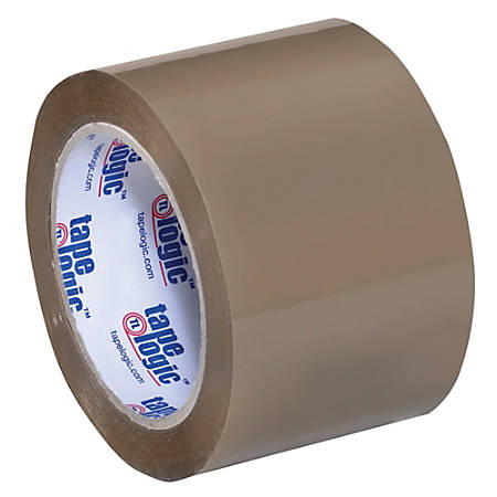 "Tape Logic® #350 Industrial Acrylic Tape, 3"" Core, 3"" x 55 Yd., Tan, Case Of 6"