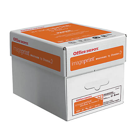 Office Depot® Brand ImagePrint® Multiuse Paper, Letter Paper Size, 20 Lb, FSC® Certified, White, 500 Sheets Per Ream, Case Of 5 Reams