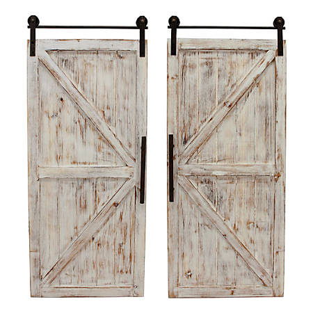 "FirsTime & Co. Carriage House Barn Door Wall Plaque Set, 34""H x 14""W x 2""D, Metallic Gray/Aged White, Set Of 2 Plaques"