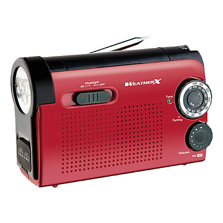 GPX WeatherX AM/FM Weatherband Radio With Flashlight, WR182R