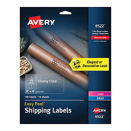 "Avery® Glossy Permanent Labels, 6522, Shipping, 2"" x 4"", Clear, Pack Of 100"