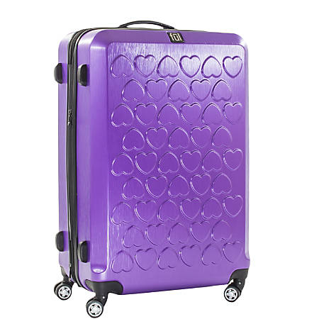 ful Hearts 3-Piece ABS Rolling Suitcase Set, Purple