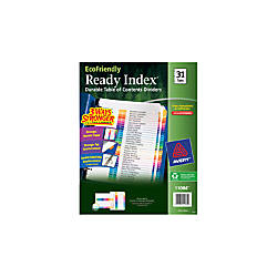Avery EcoFriendly Ready Index 30percent Recycled