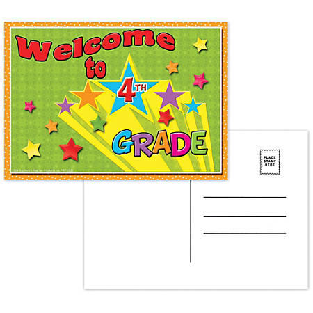 "Top Notch Teacher Products Welcome To 4th Grade Postcards, 4 1/2"" x 6"", Multicolor, 30 Postcards Per Pack, Bundle Of 12 Packs"