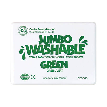 """Center Enterprise Jumbo Washable Unscented Stamp Pads, 6 1/4"""" x 4"""", Green, Pack Of 2"""