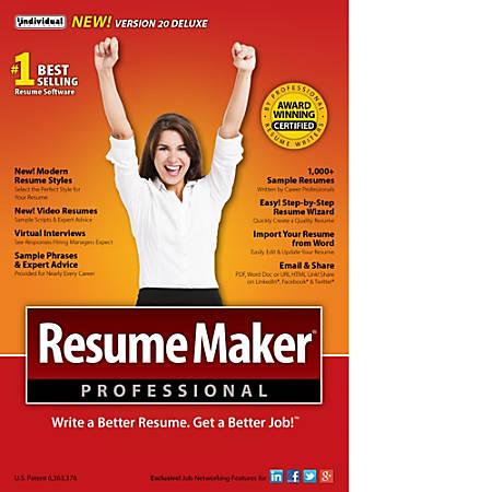 Resume Maker Professional | Resumemaker Professional Deluxe 20 Download Version Item 888191
