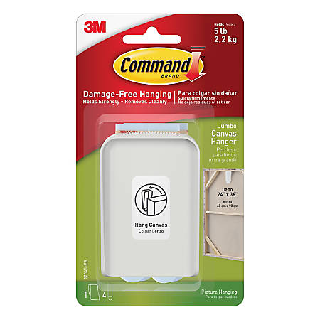 """Command™ Jumbo Canvas Picture Hanger, 2 1/4""""H x 3 3/8""""W x 3/4""""D, White"""