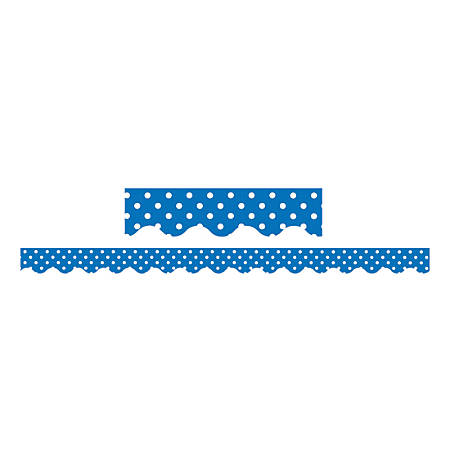 "Teacher Created Resources Border Trim, 2 3/16"" x 35"", Blue Mini Polka Dots, Pre-K - College, Pack Of 12"