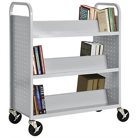 """Sandusky® Book Truck, Double-Sided With 6 Sloped Shelves, 46""""H x 39""""W x 19""""D, Dove Gray"""
