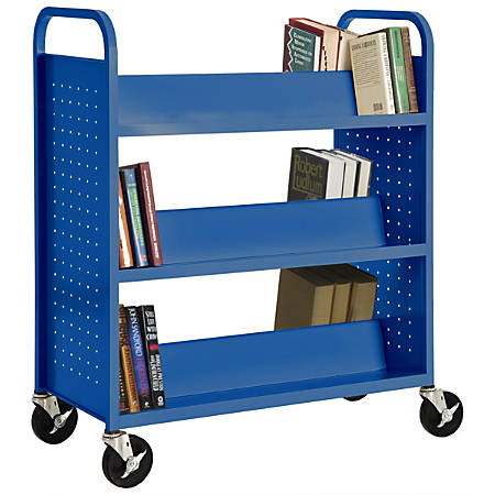"Sandusky® Book Truck, Double-Sided With 6 Sloped Shelves, 46""H x 39""W x 19""D, Blue"