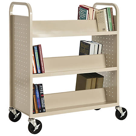 """Sandusky® Book Truck, Double-Sided With 6 Sloped Shelves, 46""""H x 39""""W x 19""""D, Putty"""