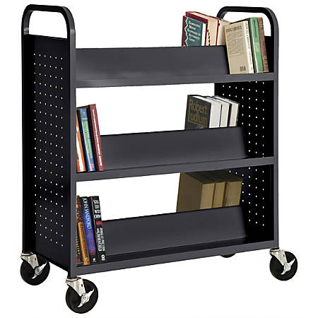 """Sandusky® Book Truck, Double-Sided With 6 Sloped Shelves, 46""""H x 39""""W x 19""""D, Black"""