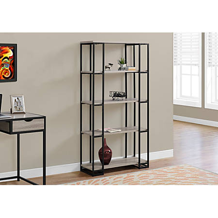 Monarch Specialties 4-Shelf Contemporary Metal Bookcase, Dark Taupe/Black