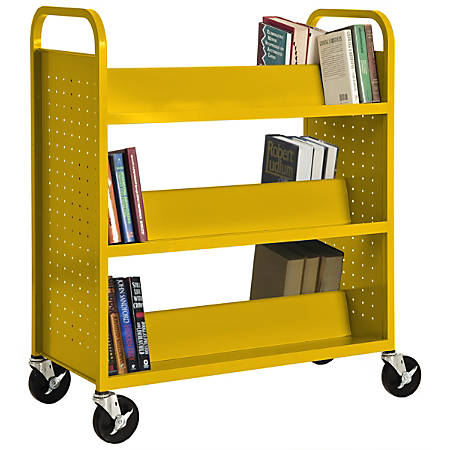 """Sandusky® Book Truck, Double-Sided With 6 Sloped Shelves, 46""""H x 39""""W x 19""""D, Yellow"""