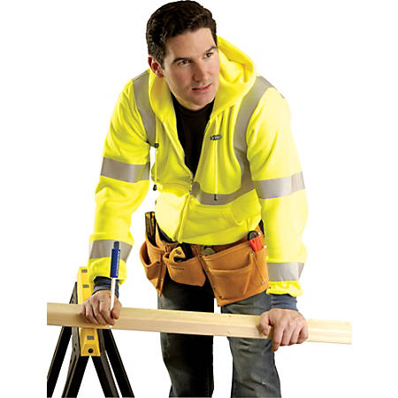 OccuNomix High-Visibility Sweatshirt Jacket, Large, Yellow