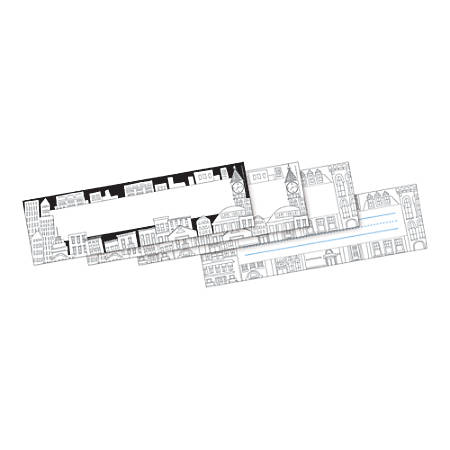 """Barker Creek Double-Sided Desk Tags/Bulletin Board Signs, 3 1/2"""" x 12"""", Color Me! Cityscapes, Pack Of 36"""
