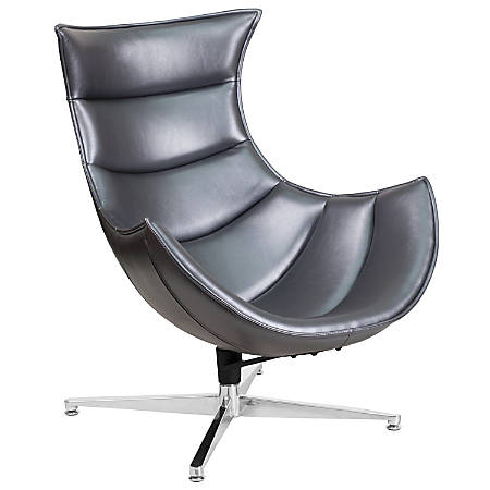 Flash Furniture Cocoon Swivel Chair, Gray/Silver