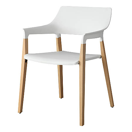 Lorell™ Plastic Stack Chairs With Wood Legs, White, Set Of 2 Chairs