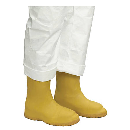 Servus® Latex Disposable Booties, Men's Small, Yellow, Pack Of 50 Pairs