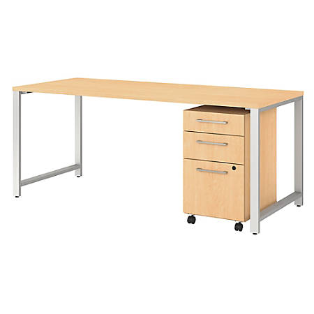 "Bush Business Furniture 400 Series 72""W x 30""D Table Desk With 3-Drawer Mobile File Cabinet, Natural Maple, Premium Installation"