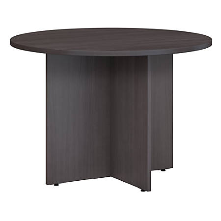 "Bush Business Furniture 42""W Round Conference Table With Wood Base, Storm Gray, Premium Installation"