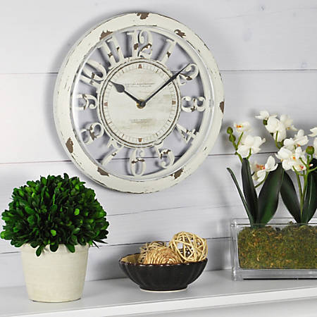 "FirsTime® Antique Round Wall Clock, 10"", Distressed Ivory"