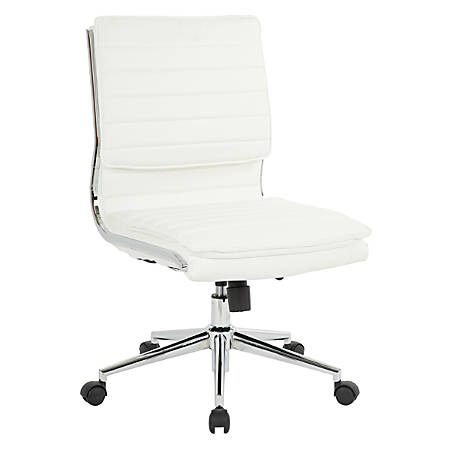 Pro-Line II™ SPX Armless Bonded Leather Mid-Back Chair, White/Chrome