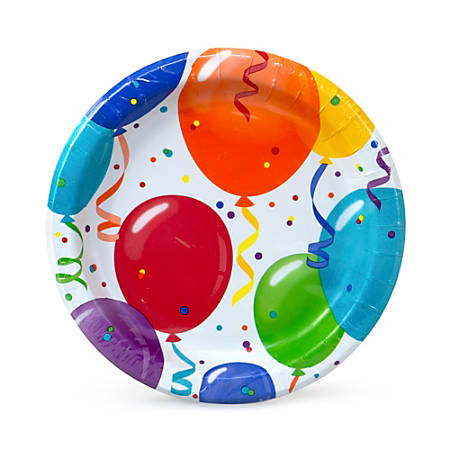 """Artstyle Birthday Round Paper Plates, 7"""", Assorted Colors, Pack Of 75 Plates"""