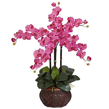 "Nearly Natural 31""H Silk Phalaenopsis Arrangement With Decorative Pot, Dark Pink"
