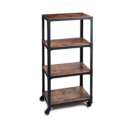 Mind Reader Charm 4-Tier Utility Cart, Black/Brown