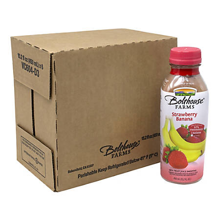 Bolthouse Farms Strawberry Banana 100% Fruit Juice Smoothies, 15.2 Fl Oz, Box Of 6 Smoothies
