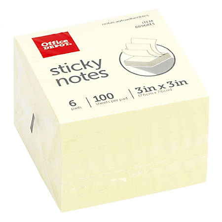"Office Depot® Brand Sticky Notes, 3"" x 3"", Pastel Yellow, 100 Sheets Per Pad, Pack Of 6 Pads"