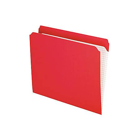 "Pendaflex® Reinforced-Top File Folders, Letter Size, 9 1/2"" x 11 5/8"", Red, Box Of 100"