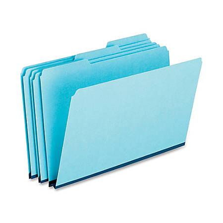 Oxford® 1/3-Cut Pressboard Tab Folders, Legal Size, 65% Recycled, Blue, Box Of 25