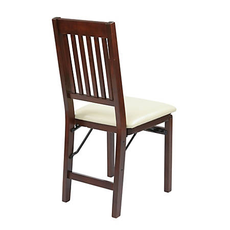 Office Star™ Hacienda Mission Back Folding Chairs, Cream, Set Of 2 Chairs