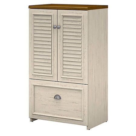 Bush Furniture Fairview Storage Cabinet With Drawer, Antique White/Tea Maple, Standard Delivery