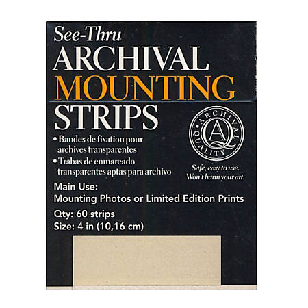 """Lineco Self-Stick Mounting Strips, 4"""", 60 Strips Per Pack, Case Of 2 Packs"""