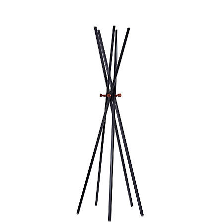 "Adesso® Andrew Metal Coat Rack, 66-1/2""H x 23-1/2""W x 23-1/2""D, Matte Black/Walnut Ash"