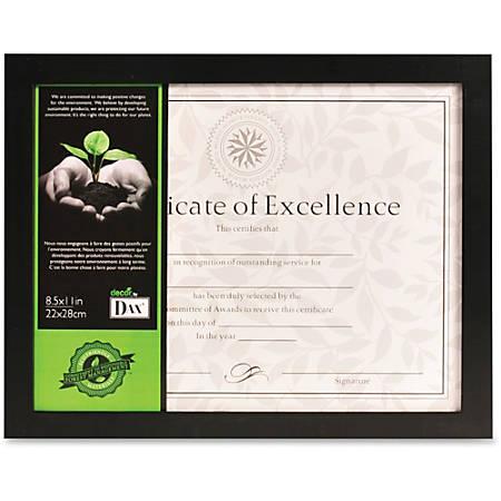 "DAX Certificate Frame - 5"" x 7"" Frame Size - Holds 5"" x 7"" Insert - Desktop - Vertical - Easel Back - 1 Each - Wood - Black"
