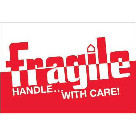 "Tape Logic® Preprinted Labels, DL1054, Fragile — Handle With Care 2—Tone, Rectangle, 2"" x 3"", Red/White, Roll Of 500"