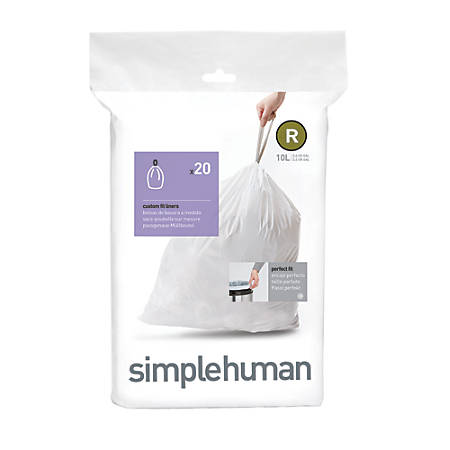 simplehuman® Custom Fit Can Liners, R, 10L/2.6G, White, Pack Of 240