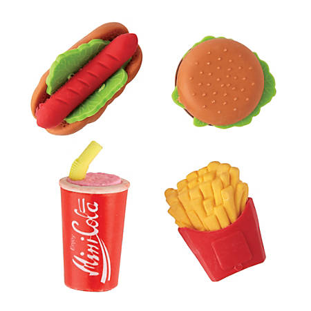 Office Depot® Brand Fun Erasers, Fast Food, Assorted Colors, Pack Of 4